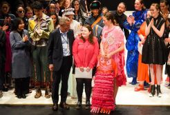 Rebecca Carrington on stage at the International Emerging Designer Awards in Dunedin