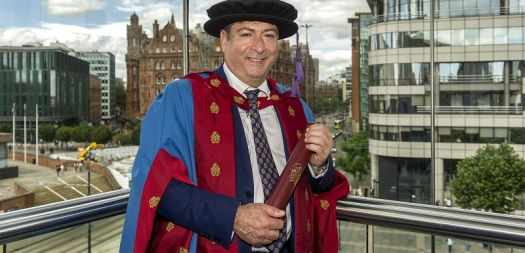International contemporary artist, academic and author Professor Bashir Makhoul received an honorary Doctorate of Arts from Manchester Metropolitan University [NO]