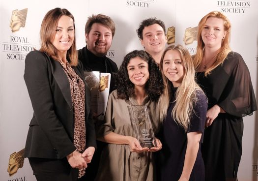 The team collecting the award for Best Animation [NO]]