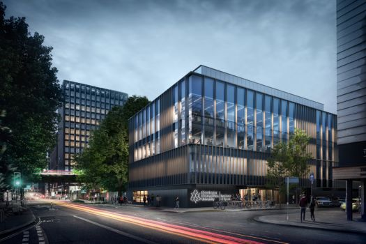 An architect's image of Manchester Metropolitan University's new Institute of Sport. Construction began in June.