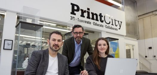 BSc 3D Design student Elen Parry, right, with left, Peter Gough, Senior Lecturer in Digital Innovation, and, centre, Ed Keefe, 3D Print Manager