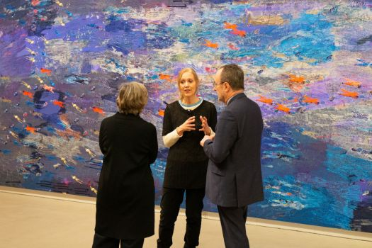 Alice Kettle (c) with Professor Geoffrey Crossick and Rosy Greenlees